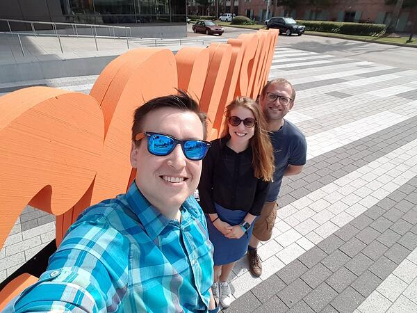 All the way from Belgium: Thomas Vanhove (CEO), Sarah Facq (Growth marketer) and Gregory Van Seghbroeck (CTO)